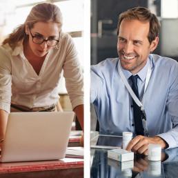 vrouw en man aan het werk in het onderwijs en de zorg